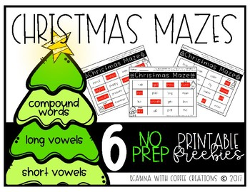 FREEBIE - Compound Words, Long and Short Vowels - Christmas Printables