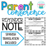 FREEBIE Conference Reminder Note Spanish