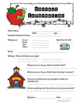FREEBIE! Contact Information Sheet (English & Spanish)