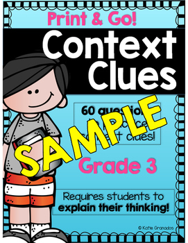 FREEBIE Vocabulary: Context Clues Printables/Worksheets