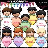 FREEBIE Conversation Hearts Kids Clip Art - Spanish