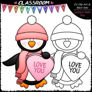 FREEBIE Conversation Hearts Penguin Clip Art - Valentine