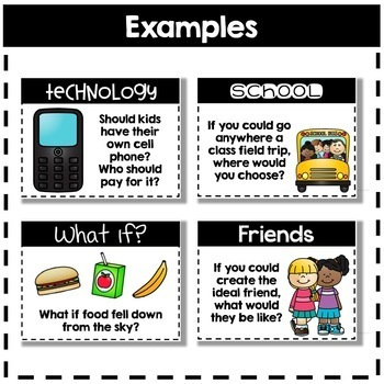 Conversation Starters - Task Cards for Discussion & Writing - SET #1: SCHOOL