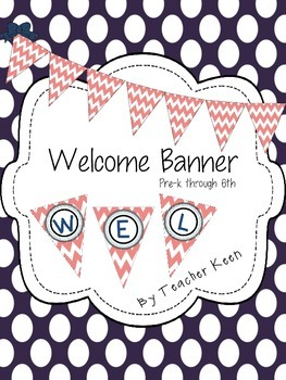 FREEBIE Coral and Navy Welcome Banner