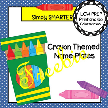 FREEBIE:  Crayon Themed Desk Name Plates with Alphabet and Numbers (1-20)