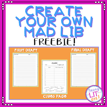 FREEBIE! Create your own Mad Lib - Parts of Speech Review