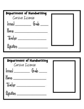 FREEBIE!! Cursive Handwriting License