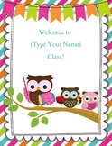 FREEBIE Customizable Owl Welcome Sign