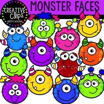 Monster Faces: Monster Clipart {Creative Clips Clipart}