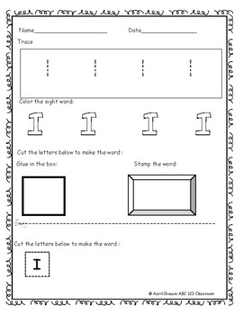 FREEBIE DOLCH SIGHT WORD WORKSHEETS SAMPLE
