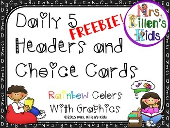 FREEBIE Daily 5 Headers and Choice Cards - Rainbow with Graphics
