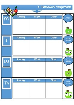 FREEBIE!! Daily Homework Assignment Sheet