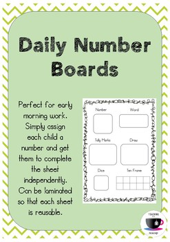 FREEBIE - Daily Number Boards