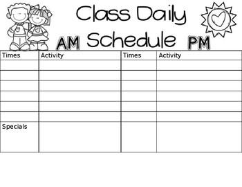 FREEBIE! - Daily Schedule - Editable