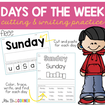FREE Days of the Week Practice Writing Papers