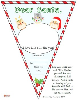 "FREEBIE ""Dear Santa,"" Pennant Banner Worksheet"