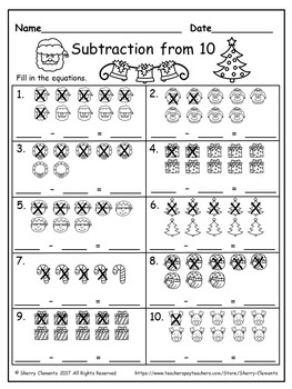 FREEBIE December Subtraction from 10