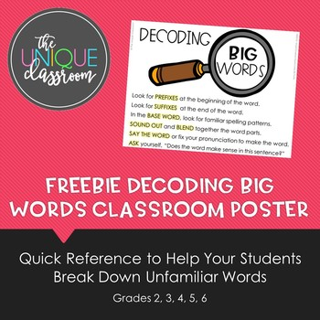 FREEBIE Decoding BIG Words Classroom Poster