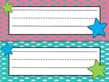 **FREEBIE**  Desk Name Plates (summer fun colors)  Back To School