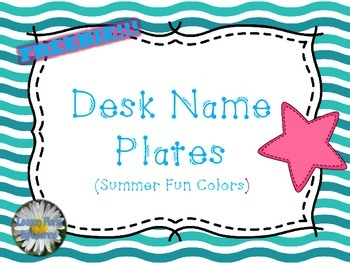 **FREEBIE**  Desk Name Plates (summer fun colors)  Back To School
