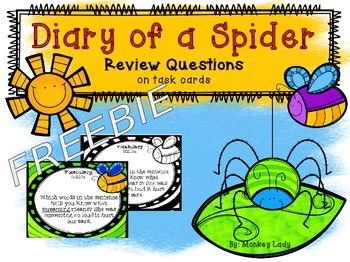FREEBIE Diary of a Spider Review Task Cards for Houghton Mifflin Journeys