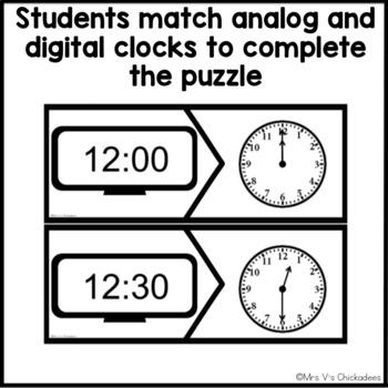 FREEBIE! Digital & Analog Clock Center: Telling Time Puzzles