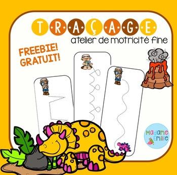 FREEBIE Dinosaurs tracing mats/ Dinosaures (activité traçage)