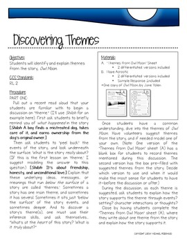 "FREEBIE: ""Discovering Themes"" {Sample Lesson from Owl Moon Literature Unit}"
