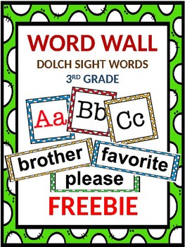 FREEBIE Dolch Word Wall