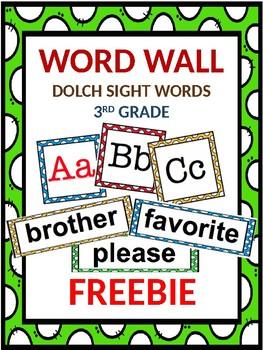 FREEBIE Dolch Word Wall