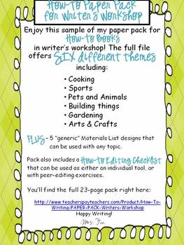 FREEBIE! Download Sample of How-To Writing Paper Pack