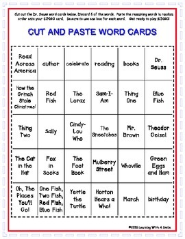 FREEBIE ~ Dr. Seuss ~ BINGO ~ Read Across America