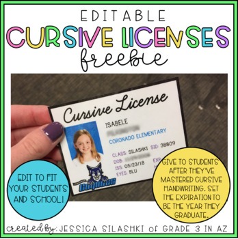 FREEBIE: EDITABLE Cursive Licenses