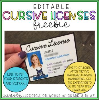 FREEBIE: EDITABLE Cursive Licenses