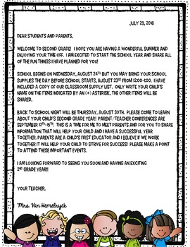 FREEBIE-EDITABLE-Welcome Back Letter and Parent Survey