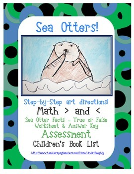 FREEBIE!!!   ELA and Math with Otters in the Ocean Art Project