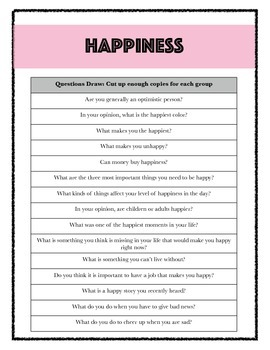 """FREEBIE: ESL/EFL """"Happiness"""" Expressions and Idioms Lesson Plan and Printables"""