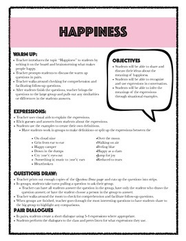 """FREEBIE: ESL/EFL """"Happiness"""" Expressions and Idioms Lesson"""