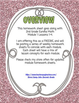 FREEBIE EUREKA MATH 2nd Grade Homework Sheet Module 1 Lessons 1-4 OA.1 OA.2