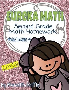 FREEBIE EUREKA MATH 2nd Grade Homework Sheet Module 1 Less