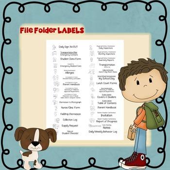 Early Childhood / Preschool File Folder LABELS