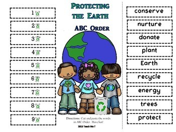 Earth Day ABC Order and Vocabulary Matching Activity FREEBIE
