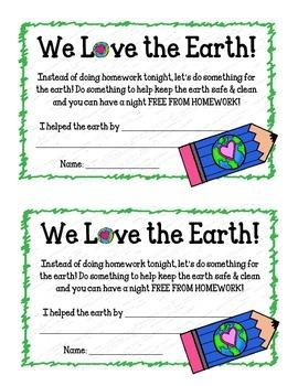{FREEBIE} Earth Day Homework Passes.  No Homework!