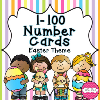 FREEBIE! Easter Themed Number Cards 1-100