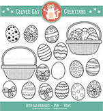 Easter Eggs Clip Art – B&W