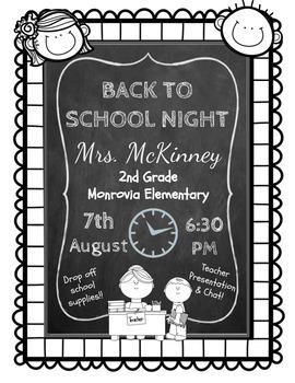 FREEBIE:  Editable Chalkboard Back To School Night Flier