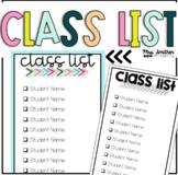Class List & Checklist - Grading, Substitute, Safety Drills {Editable}