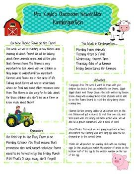 FREEBIE (Editable) Classroom Newsletter - Farm Theme!