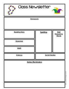 FREEBIE Editable Classroom Newsletter - Mardi Gras