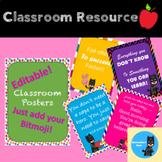 FREEBIE!!!! Editable Classroom Posters! JUST ADD YOUR Bitmoji!